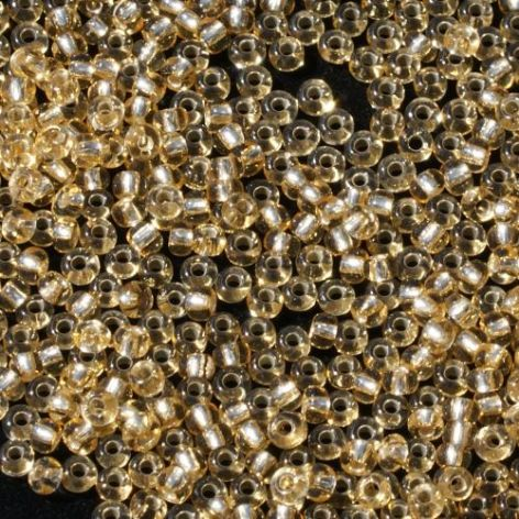Size 10 Preciosa Czech Glass Seed Beads. Gold with Silver Lining.